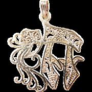 Vintage 14k Gold Chai / Hai Pendant