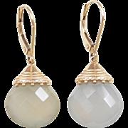Vintage 14k Gold Chalcedony Earrings