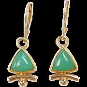 Vintage 14k & 18k Green Chalcedony Earrings
