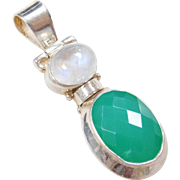 Sterling Silver Green Chalcedony and Moonstone Pendant