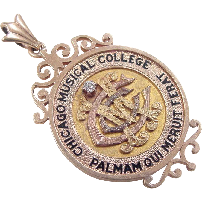 Circa 1920 39 s 14k gold chicago musical college pendant for Best place to sell gold jewelry in chicago
