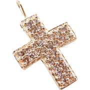 Vintage 10k Gold Chocolate / Champagne Diamond Cross Pendant