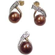 Vintage 14k Gold Two-Tone Chocolate Pearl and Diamond Earring and Pendant Set