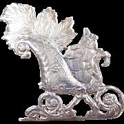 Sterling Silver Christmas Sleigh Pin / Brooch