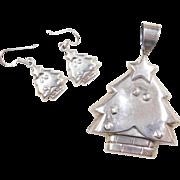 Sterling Silver Christmas Tree Set ~ Pendant and Dangle Earrings