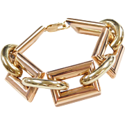 "Chunky 43.7 Grams Yellow and Rose Gold Rectangle Link Bracelet 14k ~ 8 1/4"" ~ Two-Tone ~ Wide"
