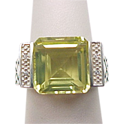 Vintage Sterling Silver Citrine and Diamond Ring