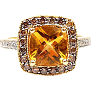 Vintage 14k Gold 2.60 ctw Citrine and Diamond Engagement Ring