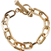 """Vintage 18k Gold Link Bracelet with Citrine Toggle Clasp ~ 8"""""""