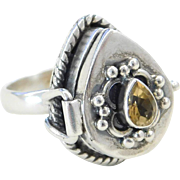Sterling Silver Citrine Poison Ring