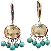 Vintage 14k Gold Citrine and Turquoise Earrings