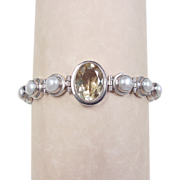 Vintage Sterling Silver Citrine and Cultured Pearl Bracelet