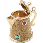 Moving 14k Gold Jeweled Coffee Pot Charm
