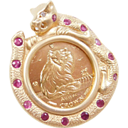 Vintage 14k and Fine Gold Wild Cat Isle of Man Cat Coin Pendant ~ Ruby and Diamond Accents