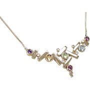Vintage 14k Gold Colorful Gemstone and Diamond Necklace ~ 18""