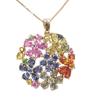 Vintage 14k Gold Colorful Sapphire Necklace ~ 18""
