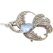 835 Silver Crane Bird Pin with Blue Glass and Marcasite