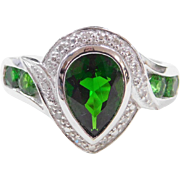 Vintage 14k White Gold 1.78 ctw Created Emerald and Diamond Ring
