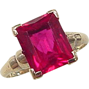 Vintage 10k Gold 2.75 ctw Created Ruby Ring