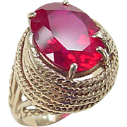 Retro 14k Gold 13.30 Carat Created Ruby Ring