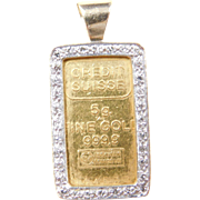 Vintage 14k & Fine Gold Credit Suisse with Diamond Bezel Pendant