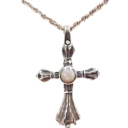 Vintage Sterling Silver Mother of Pearl Cross Necklace