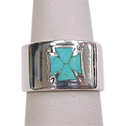 Vintage Sterling Silver Wide Turquoise Cross Band Ring