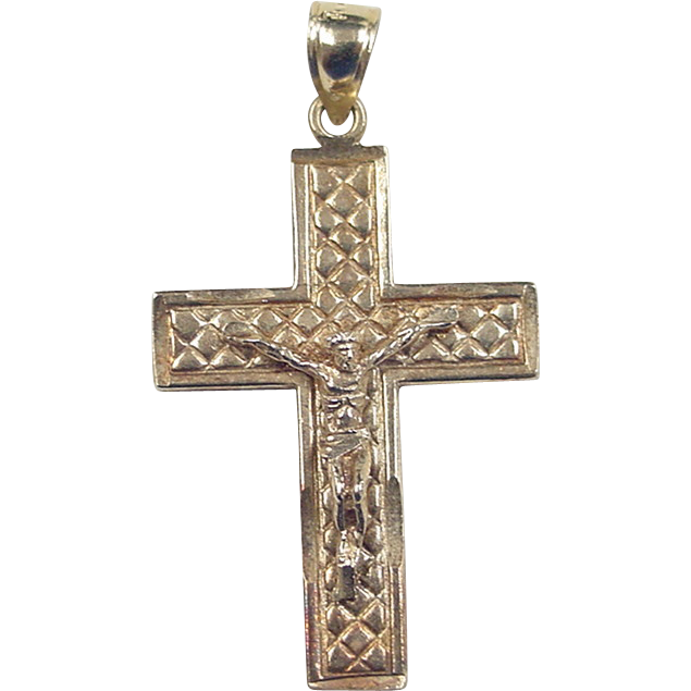 vintage 10k gold crucifix cross pendant from