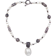 """Sterling Silver Cultured Pearl Barse Necklace ~ 17 1/2"""""""