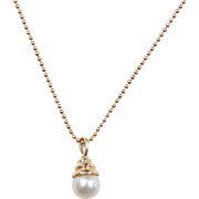 Vintage 14k Gold Cultured Pearl Beaded Necklace ~ 18""
