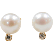 Vintage 14k Gold Cultured Pearl and Diamond Stud Earrings