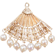 Vintage 14k Gold Cultured Pearl Fan Charm