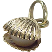 Vintage 14k Gold Cultured Pearl in Oyster Charm