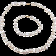 Vintage 14k Gold Cultured Pearl Necklace and Bracelet Set
