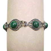Vintage Sterling Silver Filigree Czech Green Glass Bracelet