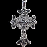Big Darkened Sterling Silver Black and Gray Rhinestone Cross Pendant