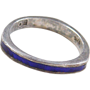 Sterling Silver Dark Blue Inlay Ring