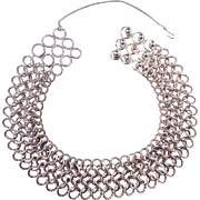 Vintage 1980's David Yurman Chunky Circle Link Choker Necklace Sterling Silver