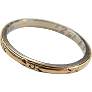 Art Deco 18k Gold and Platinum Etched Wedding Band Ring