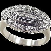 Art Deco 14k White Gold .06 ctw Diamond Ring