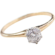Art Deco 14k Gold Two-Tone Illusion Head .06 ct Diamond Engagement Solitaire Ring