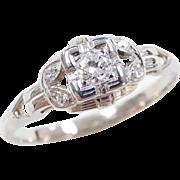 Art Deco 14k White Gold .20 ctw Diamond Ring