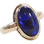 Stunning 1.95 Carat Deep Blue / Purple Black Opal Ring 14k Gold