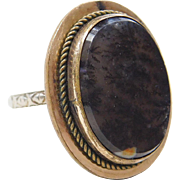 Victorian Dendritic Agate Ring ~ 18k White Gold and Gold Filled