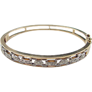 Vintage 14k Gold Two-Tone Diamond Hinged Bangle Bracelet