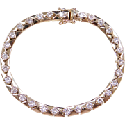 Vintage 14k Gold 3.19 ctw Diamond Tennis Bracelet 6 3/4""
