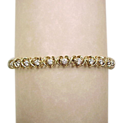 Vintage 14k Gold 3.60 ctw Diamond Hug and Kiss Bracelet