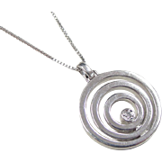 Vintage Sterling Silver Diamond Circle Necklace