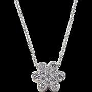 Vintage 14k White Gold .90 ctw Diamond Daisy Necklace