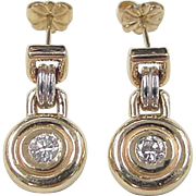 Vintage 14k Gold Two-Tone .32 ctw Diamond Earrings